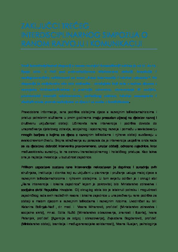 Zaključci Trećeg simpozija o ranom razvoju