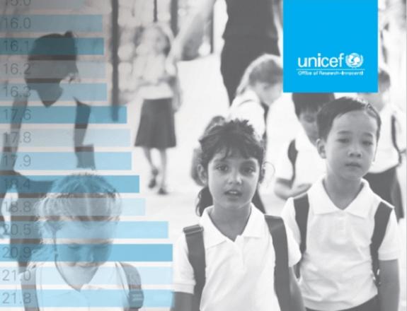 """Naslovnica izvješća """"Nepravedan start: nejednakost u obrazovanju djece u zemljama višeg dohotka"""" UNICEF-ova istraživačkog centra Innocenti, Firenca, listopad 2018."""