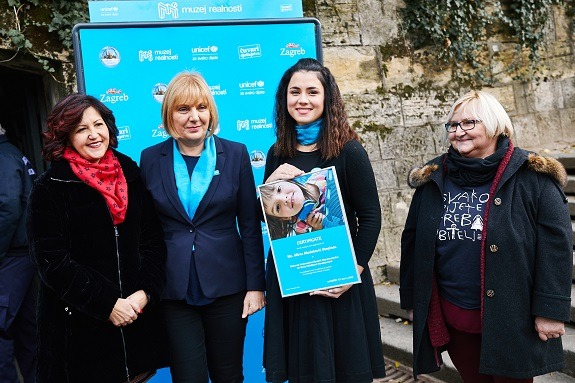 Newly-appointed Goodwill Ambassador Mirna Medaković Stepinac, accompanied by Marija Pletikosa, State Secretary in the Ministry of Demographics, Family, Youth and Social Policy, Đurđica Ivković, Acting Head of the UNICEF Office for Croatia, and Marina Hoblaj, Head of the Forum for Quality Foster Care.