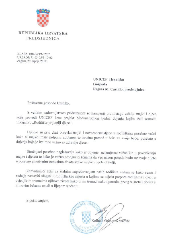 Pismo podrške predsjednice RH Kolinde Grabar-Kitarović